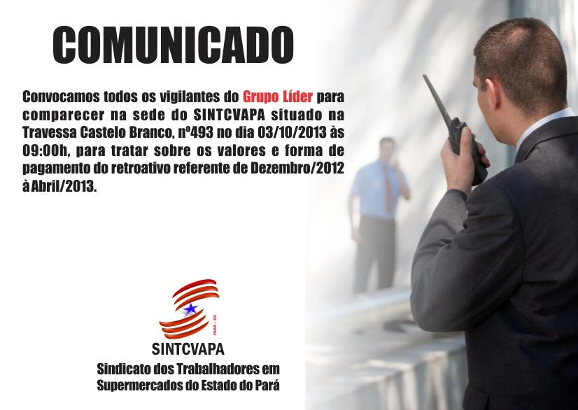 Comunicado aos Vigilantes do Grupo Líder!