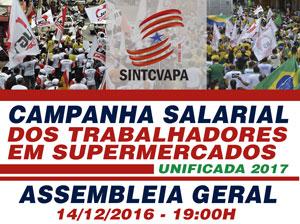 Sindicato realizará assembleia geral de campanha salarial 2017